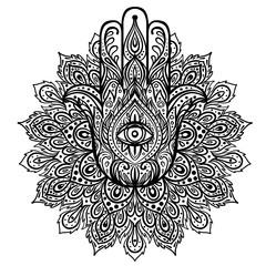 Vector Indian hand drawn hamsa over round mandala pattern. Ethnic ornaments. Popular Arabic and Jewish amulet. Vector illustration.