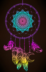 Hand drawn Native American Indian talisman dreamcatcher with feathers and moon. Vector hipster colorful gradient illustration isolated on black.