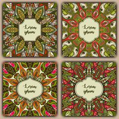 Set of mandala background cards. Vintage elements. Vector decorative retro greeting card or invitation design