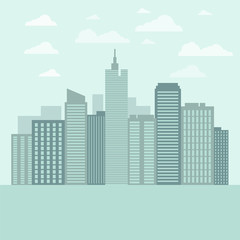 Background with urban landscape. Vector illustration.