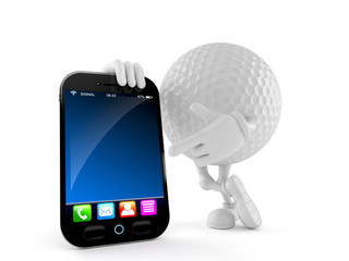 Golf ball character with smart phone