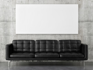 Black leather sofa with horizontal mock up poster, concrete wall background, 3d render