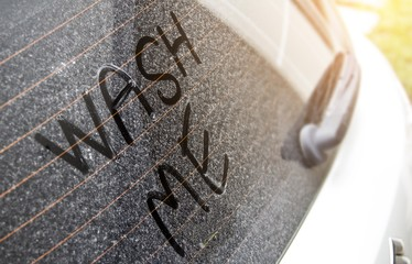 Write the letter that washed me up on a very dirty car surface. Car wash concept