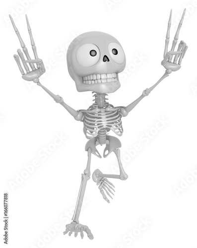 3D Skeleton Mascot is taking a gesture of victory  3D Skull
