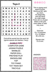 Toys and games themed zigzag word search puzzle 2 (suitable both for kids and adults). Answer included.
