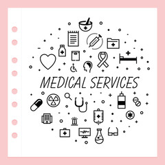 Set of modern vector illustrations about medical and healthcare services.