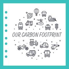 Vector line design concept for carbon footprint website banner.