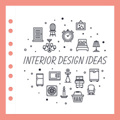 Vector line design concept for the interior design ideas website banner.