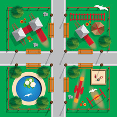Playground. View from above. Vector illustration.