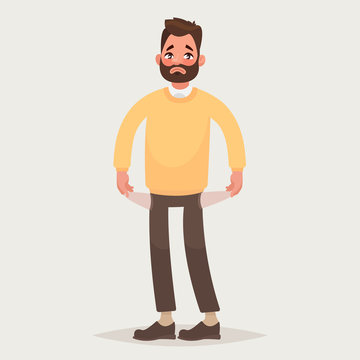 No money.  Man with pockets turned outward. Vector illustration