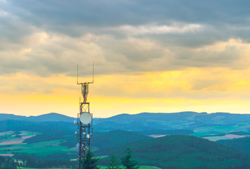 Antenna at the top of the mountain