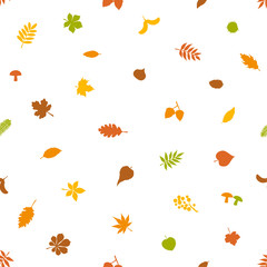 seamless pattern with colorful forest autumn fall leaves