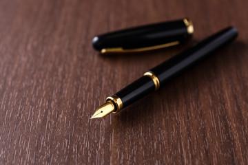 机の上の万年筆