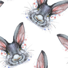 Painted drawing with watercolor seamless pattern portrait of an animal mammal rabbit hare in bed colors on a white background with splashes and divorces for a pattern, design and decor, print