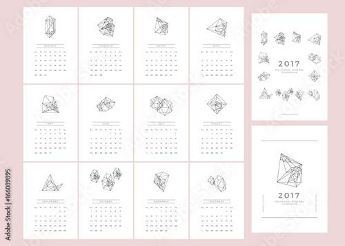 polygonal mineral calendar 2017 minimal calendar template creative