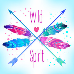 Hand drawn vector wreath with painted bird feathers and arrows isolated on white background. Colorful set for your design. Trendy boho style patterned elements