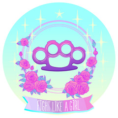 Fight like a girl. Pink glamour brass knuckles in floral frame. Roses and stars.