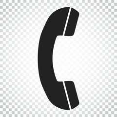 Phone icon vector, contact, support service sign on isolated background. Telephone, communication icon in flat style. Simple business concept pictogram.