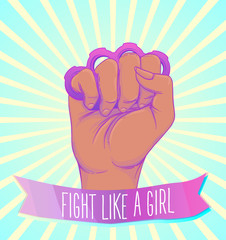 African American Woman's hand with her fist raised up. Girl Power. Feminism, anti-racism concept. Realistic style vector illustration in pink on white.