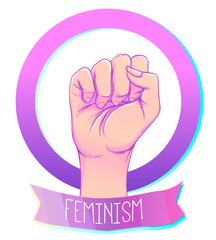 Woman's hand with her fist raised up. Girl Power. Feminism concept. Realistic style vector illustration in pink pastel goth colors isolated on white