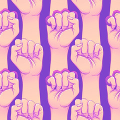 Woman's hand with brass knuckles. Fist raised up. Girl Power. Feminism concept. Realistic style vector illustration in pink and purple pastel goth colors isolated on white.