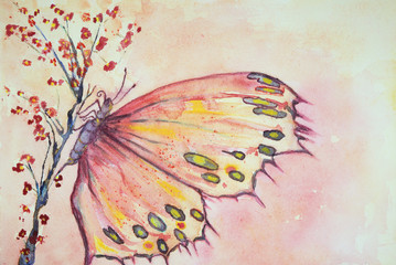 A multicolored butterfly sitting on a sakura branch. The dabbing technique near the edges gives a soft focus effect due to the altered surface roughness of the paper.