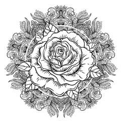 Rose flower over mandala. Tattoo flash. Highly detailed vector illustration isolated on white. Tattoo design, mystic symbol. New school dotwork. Boho design.