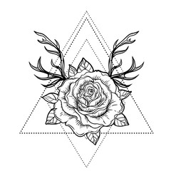 All seeing eye symbol over rose flower and deer antlers. Sacred geometry. Tattoo flash. vector illustration isolated on white. Mystic symbol. New school. Boho design