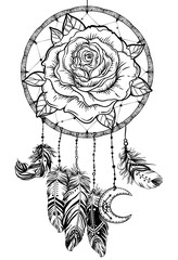 Dream catcher with rose flower, detailed vector illustration isolated on white. Blackwork tattoo flash, mystic symbol. New school dotwork. Boho design.