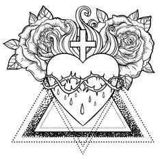 Sacred Heart of Jesus. Vector illustration isolated on white over roses floral and geometric background. Vintage style element. Religion, occultism, alchemy, magic, love.