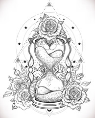 Decorative antique hourglass with roses illustration isolated on white. Hand drawn vector art. Sketch for dotwork tattoo, hipster t-shirt design, vintage style posters.