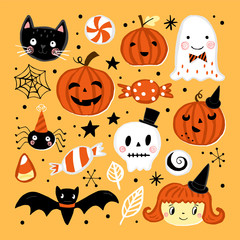 Halloween holiday set with hand drawing elements