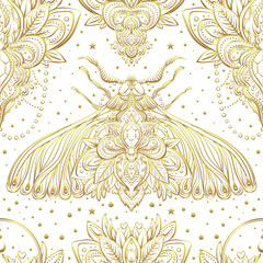 Gold and white decorative vector pattern with a moth isolated on white. Golden stickers, flash temporary tattoo. Nature, spirituality, occultism, alchemy, magic .