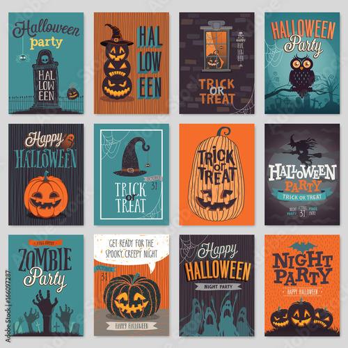 Wall mural Halloween hand drawn invitation or greeting Cards set.