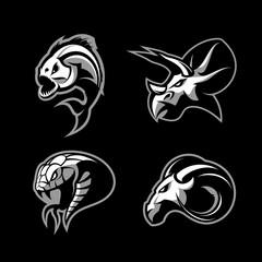 Furious piranha, ram, snake and dinosaur head sport vector logo concept set isolated on black background.