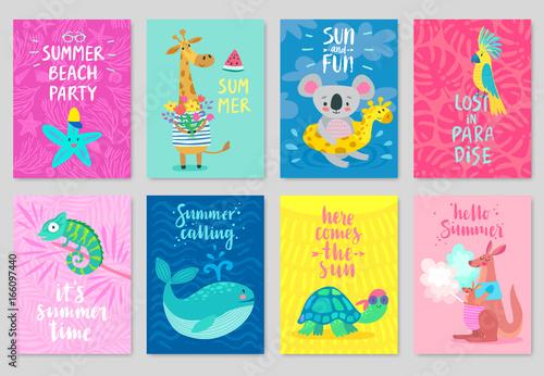 Wall mural Animals card set, hand drawn style, summer theme.