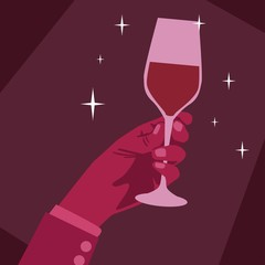 Hand holding wine glass flat design background