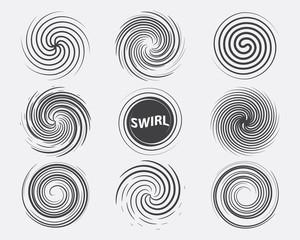 Abstract swirl set dynamic flow black white icon