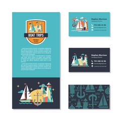 Sea walks on the yacht. The rest of the sea. Vector design of the flyer and business cards. Logo, pattern.