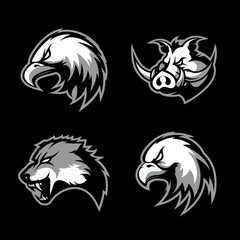 Furious boar, wolf, panther and eagle head sport vector logo concept set isolated on black background.