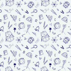 Vector seamless school pattern. Themed design with different school supplies. Doodle style