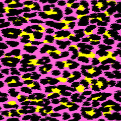 Trendy Leopard or cheetah skin seamless pattern, animal fur background, vector background. Fabric design, wrapping paper, textile.