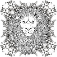 Wall Murals Hand drawn Sketch of animals Decorative illustration of heraldic Lion Head with royal crown and ribbon. Vector illustration isolated on white. Hand drawn vintage. Line art tattoo template.