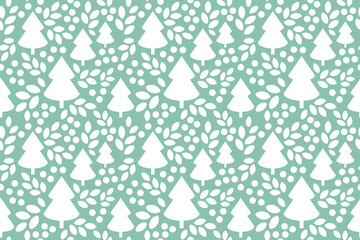 Endless Christmas Pattern. Christmas tree. Holly Berry. Leaves.