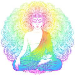 Buddha face over ornate mandala round pattern. Esoteric vintage vector illustration. Indian, Buddhism, spiritual art. Hippie tattoo, spirituality, Thai god, yoga zen.