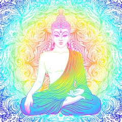 Sitting Buddha over ornate mandala round pattern. Esoteric vector illustration. Vintage decorative culture background. Indian, Buddhism, spiritual art. Hippie tattoo, spirituality.