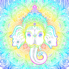 Hindu Lord Ganesha over ornate mandala pattern. Vector illustration. Vintage decorative. Hand drawn paisley background. Indian motifs. Tattoo, yoga, spirituality.