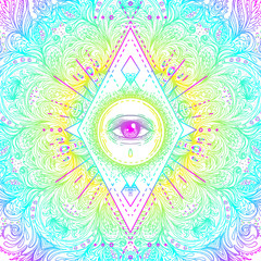 Sacred geometry symbol with all seeing eye in acid colors. Mystic, alchemy, occult concept. Design for indie music cover, t-shirt print, psychedelic poster, flyer.