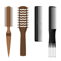 Set of hair combs isolated on white background. Vector illustration.