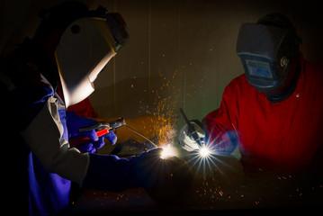 Welding worker at factory,industrial worker.